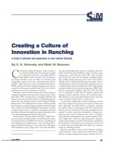 Creating a Culture of Innovation in Ranching - Journals at the ...