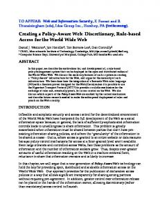 Creating a Policy-Aware Web - World Wide Web Consortium