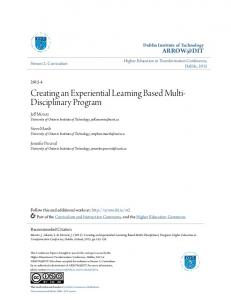 Creating an Experiential Learning Based Multi-Disciplinary Program