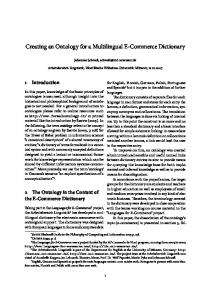 Creating an Ontology for a Multilingual E-Commerce Dictionary