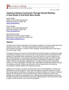 Creating Cohesive Community Through Shared ...