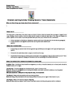 Creating Dynamic Thesis Statements - De Anza College