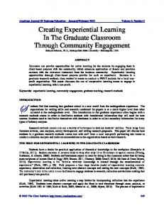 Creating Experiential Learning in the Graduate Classroom through ...