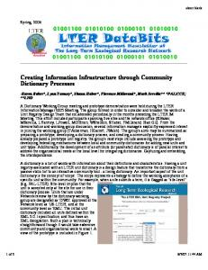 Creating Information Infrastructure through Community ... - Palmer LTER