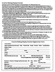 Creative Baking Display Contest Registration Form Creative Baking ...