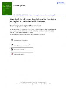 Creative hybridity over linguistic purity: the status of ...