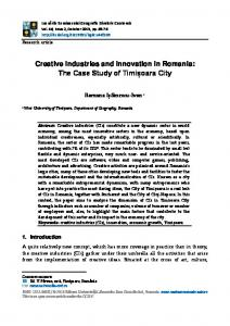 Creative Industries and Innovation in Romania: The