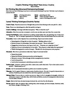 "Creative Thinking ""Cheat Sheet"" from Serious Creativity Six Thinking ..."