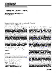 Creativity and dementia: a review - Springer Link