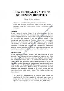 creativity in learning: teaching creativity and innovation in ... - PURE