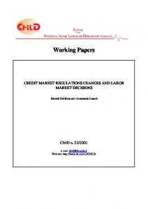 CREDIT MARKET REGULATIONS CHANGES AND LABOR MARKET ...