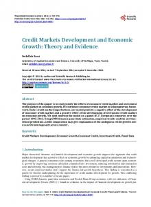 Credit Markets Development and Economic Growth - Scientific