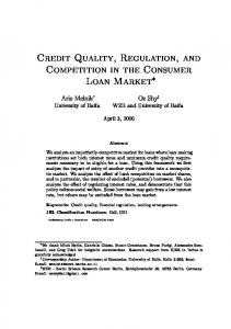 Credit Quality, Regulation, and Competition in the