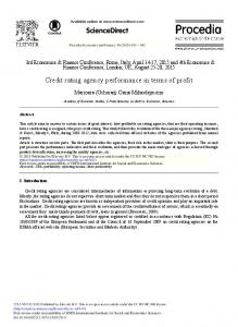 Credit Rating Agency Performance in Terms of Profit - ScienceDirect