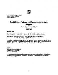 Credit Union Policies and Performance in Latin America - CiteSeerX