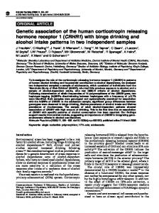 (CRHR1) with binge drinking and alcohol intake ... - Semantic Scholar