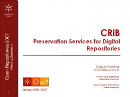 CRiB Preservation Services for Digital Repositories