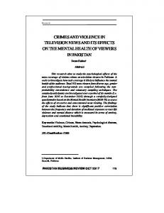 crimes and violence in television news and its effects ...