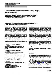 Criminal Justice System Involvement Among People with ...
