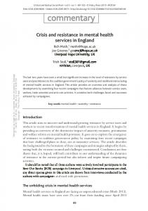 Crisis and resistance in mental health services in England