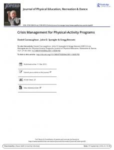 Crisis Management for Physical-Activity Programs