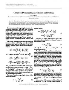 Criterion Demarcating Cavitation and Boiling - Springer Link