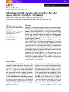 Critical appraisal of clinical practice guidelines ... - Wiley Online Library