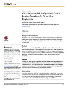 Critical Appraisal of the Quality of Clinical Practice Guidelines ... - PLOS