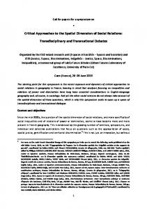 Critical Approaches to the Spatial Dimension of Social ... - Calenda