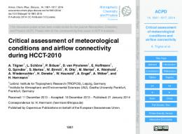 Critical assessment of meteorological conditions and ... - CiteSeerX