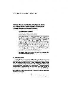 Critical Behavior of the Electrical Conductivity of ... - Springer Link