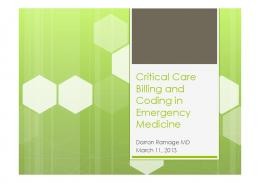 Critical Care Billing and Coding in Emergency Medicine