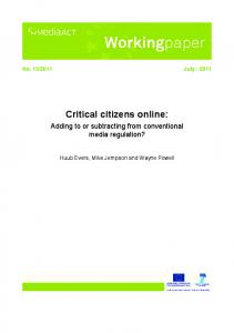 Critical citizens online: Adding to or subtracting from ... - Eldorado