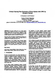 Critical Clearing Time Evaluation of Power System