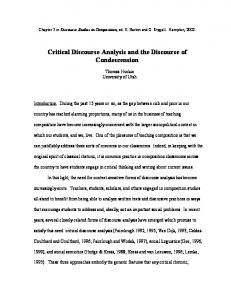 Critical Discourse Analysis and the Discourse of ... - Writing Program