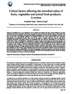 Critical factors affecting the microbial safety of fruits, vegetables and