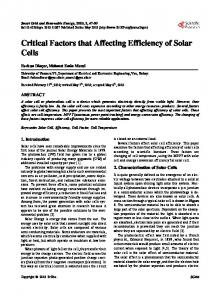 Critical Factors that Affecting Efficiency of Solar Cells - CiteSeerX