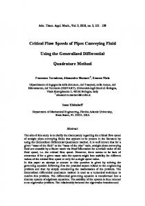Critical flow speeds of pipes conveying fluid using the ... - CiteSeerX