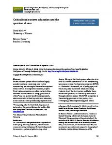 Critical Food Systems Education and the Question of Race - Journal of