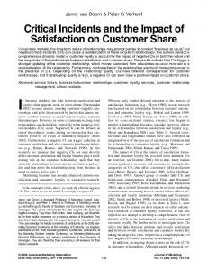 Critical Incidents and the Impact of Satisfaction on Customer Share