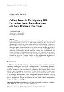 Critical Issues in Participatory GIS: Deconstructions, Reconstructions ...