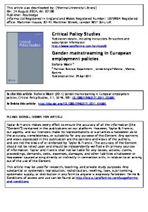 Critical Policy Studies Gender mainstreaming in ...