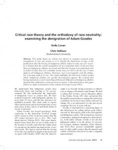 Critical race theory and the orthodoxy of race neutrality ... - Informit