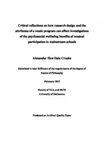 Critical reflections on how research design and the ...