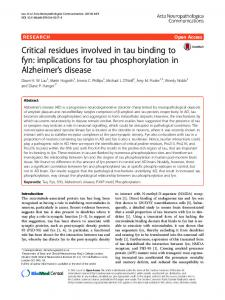 Critical residues involved in tau binding to fyn