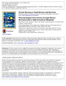 Critical Reviews in Food Science and Nutrition ...
