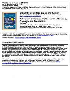 Critical Reviews in Food Science and Nutrition A