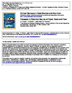 Critical Reviews in Food Science and Nutrition Flaxseed