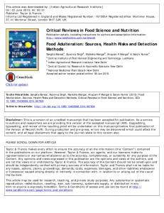 Critical Reviews in Food Science and Nutrition Food Adulteration
