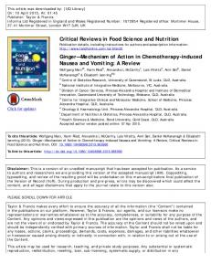 Critical Reviews in Food Science and Nutrition Ginger ...